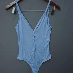 NWOT Pacsun Me to We Baby Blue Snap Bodysuit Sz S